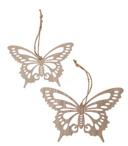 Houten hangers - Vlinder (12 cm + 15 cm) 2 stuks