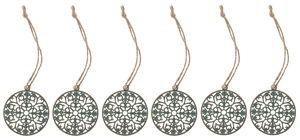 Metalen hangers - Ornament, goud/groen, 6 stuks