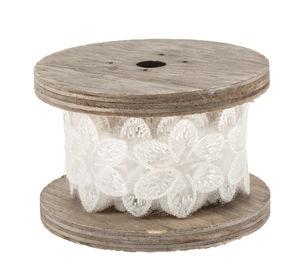 Band - Bloemen op houten spoel (2 m x 33 mm) wit