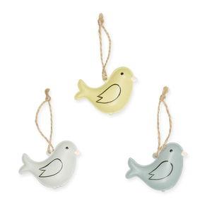 Metalen hangers - Vogel, groen/mint/blauw 3 stuks
