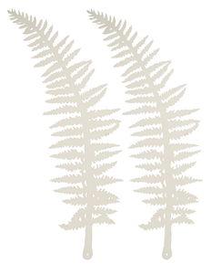 Papier-Deko Farn, 2 Stück perlweiß (15,5 x 54 cm)