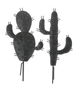 Metalen stekers - cactus (18 cm) zwart, 2 stuks