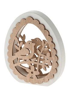Deco houten ei (13 x 2,5 x 15 cm) wit/naturel