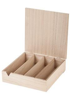 Holz-Box mit 4 Fächern (24 x 24 x 7 cm)