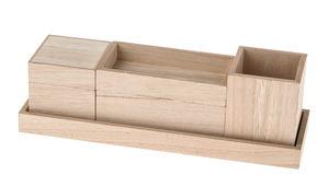Houten bakjes in houder (33 x 10 x 10,5 cm) 6-dlg