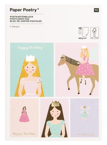 Bloc cartes postales, 15 cartes princesse dorure