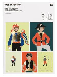 Kaartenblok 'Piraten' met hot foil, 15 stuks