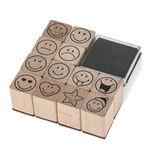 Houten stempels - Smile, 12 stempels + kussen