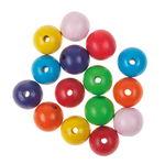 Houten kralen (speekselvast) kleurrijk, 15 stuks