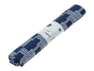 Katoenen stof 'Graphic' (50x140cm) donkerblauw/wit