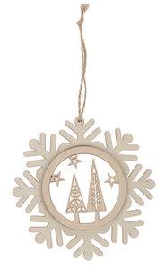 Houten hanger - Sneeuwvlok (12 x 0,9 cm)