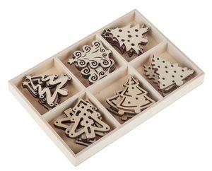 Houten kerstbomen (4 cm) 24 stuks
