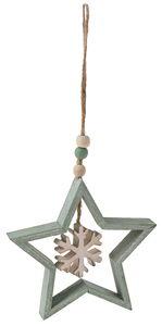 Suspension en bois étoile avec flocon de neige