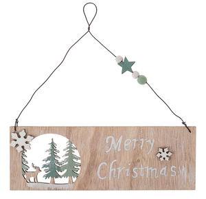 Houten bordje - Merry Christmas (18 x 17 cm)