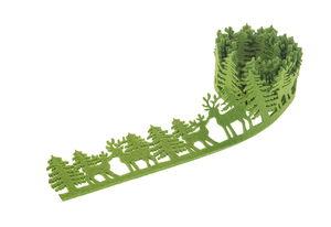 Filz-Girlande Bäume/Elche, grün (120 x 6 cm)