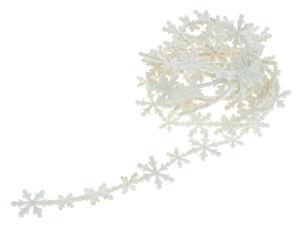 Vilten slinger sneeuwvlokken (200 x 3 cm) wit