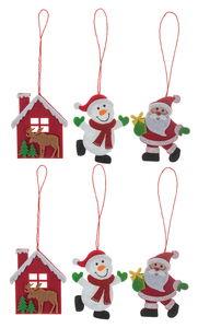 Vilten hangers X-Mas (6 x 7 cm) rood/wit, 6 stuks