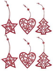 Vilten hangers - ster/hart/boom (7cm) rood 6 stuks