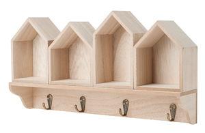 Holz-Garderobe Häuser, natur   (40 x 8 x 21,5 cm)