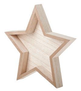 Houten dienblad - Ster (24 x 3 x 23 cm) naturel