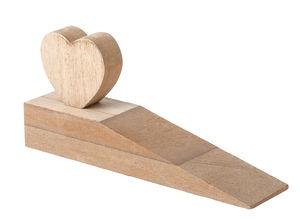 Houten deurstopper - Hart (18 x 4 x 8 cm) naturel