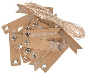 Mini étiquettes en papier Merry Christmas, marron