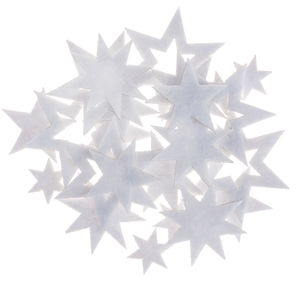 Vilten stickers - ster (15-45 mm) wit, 24 stuks