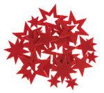 Vilten stickers - Ster (15-45 mm) rood, 24 stuks