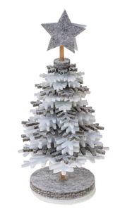 Knutselset vilten kerstboom (8,5 x 16 cm)wit/grijs