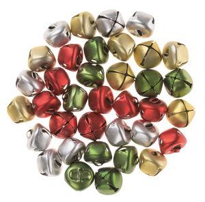 Belletjes in zilver/goud/groen/rood, 36 stuks