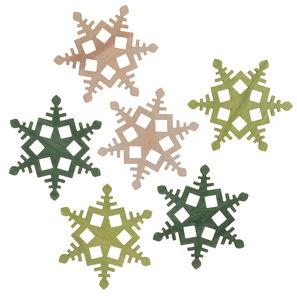Houten - sneeuwvlokken (6 cm) 6 stuks