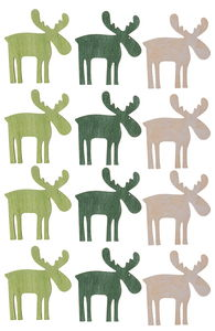 Streuteile Holz, 12 Elche grün (4 cm)