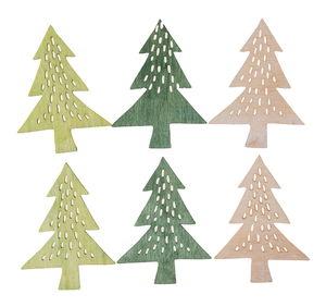 Houten - Dennenbomen, groen (6 cm) 6 stuks