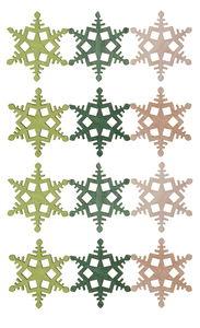 Houten - sneeuwvlokken, groen (4 cm) 12 stuks