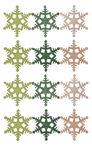 Streuteile Holz, 12 Schneeflocken grün (4 cm)