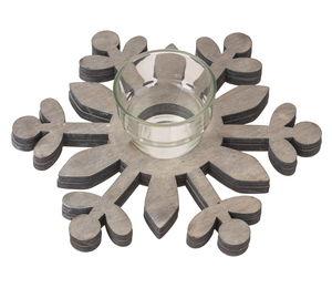 Holz-Schneeflocke mit Teelichtglas  (20 cm)