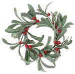 Kunststof - bessen krans, groen/rood (18 cm)