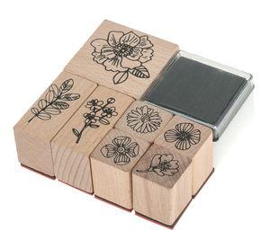 Sellos de madera - Flores Hygge, 7 sellos + tampón